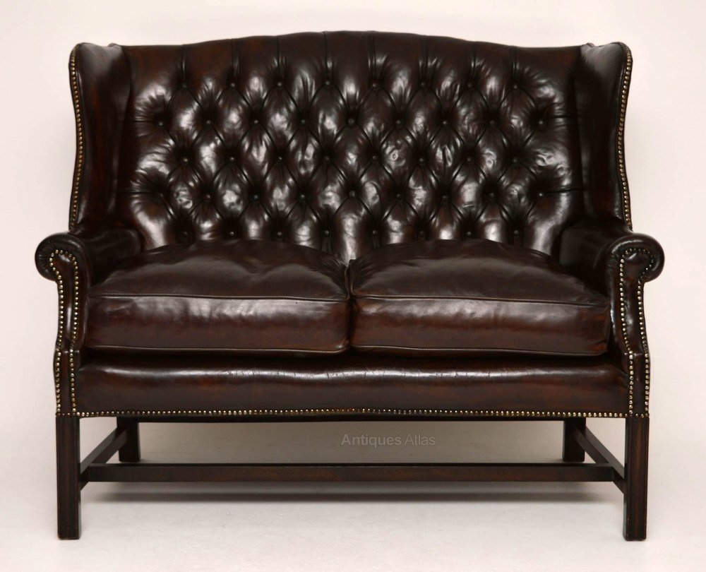 Antique Deep Buttoned Leather Wing Back Sofa Antiques Atlas