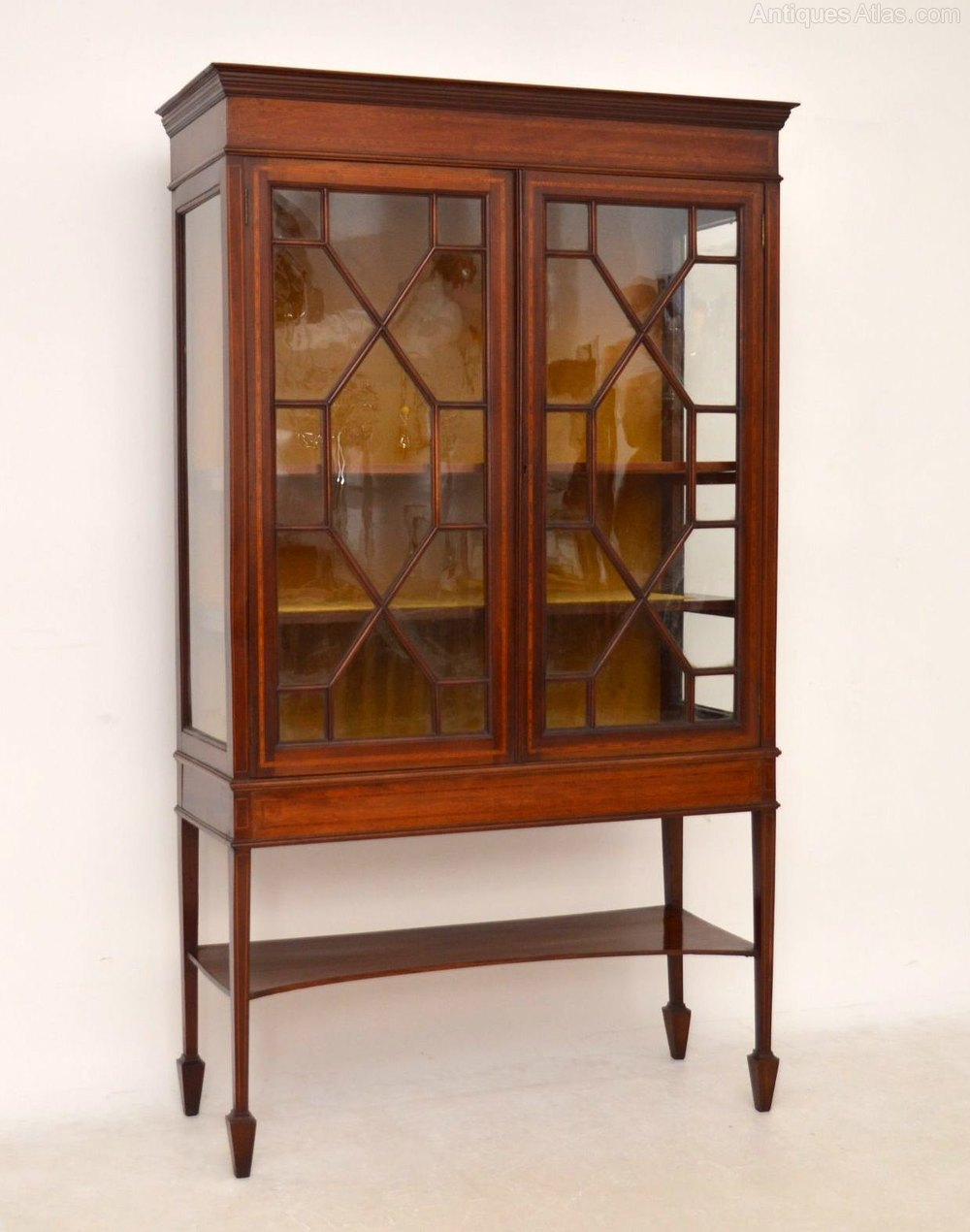 Antique edwardian inlaid mahogany display cabinet for Antique display cabinet