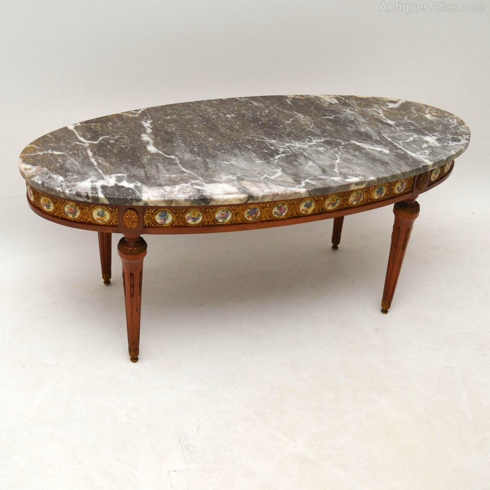 Antique french marble top coffee table antiques atlas for Stone topped coffee tables