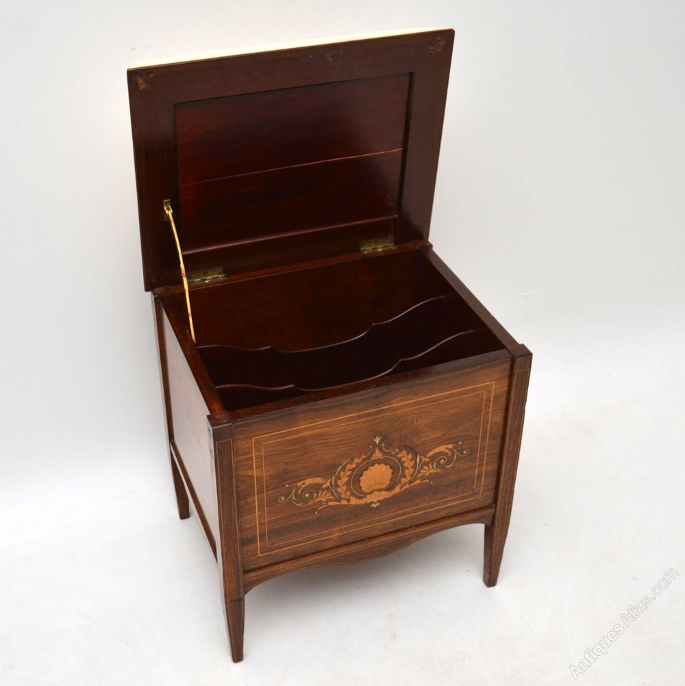 Antique Late Victorian Inlaid Rosewood Piano Stool