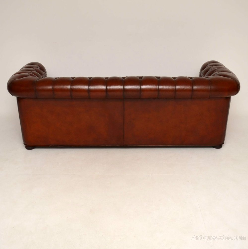 antique leather 3 seater chesterfield sofa antiques atlas. Black Bedroom Furniture Sets. Home Design Ideas
