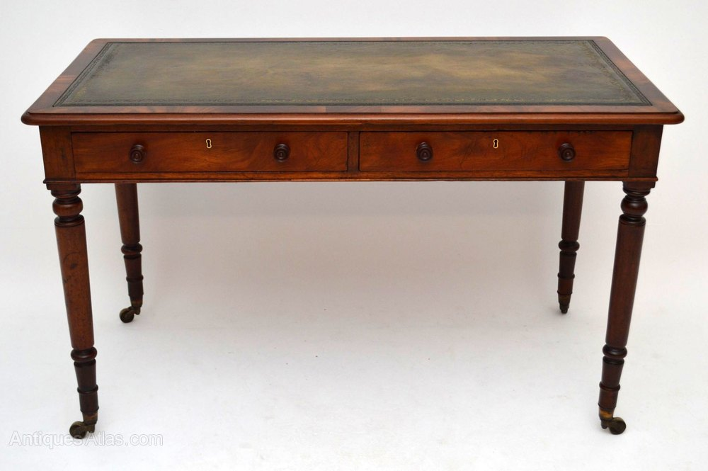 Burr Maple Leather Top Writing Desk