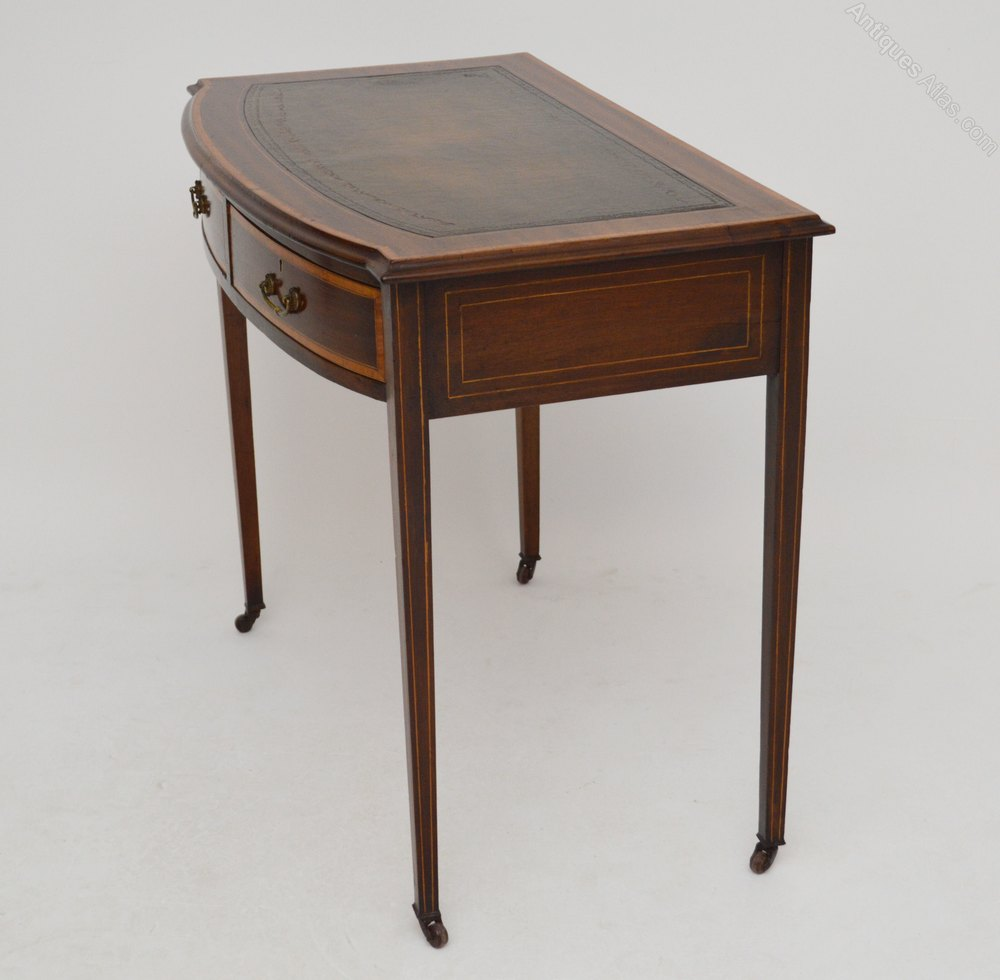 Mahogany Writing Desk ~ Antique mahogany satinwood writing table desk antiques