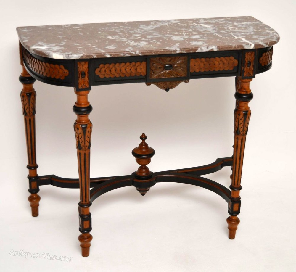 Antique marble top ebonized walnut console table