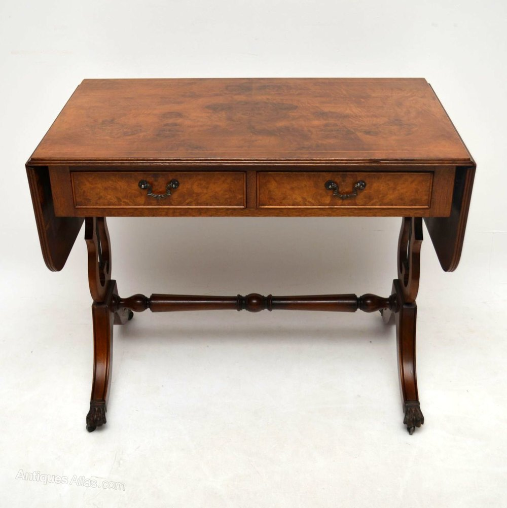 Antique regency style burr walnut sofa table antiques atlas for Sofa table antique