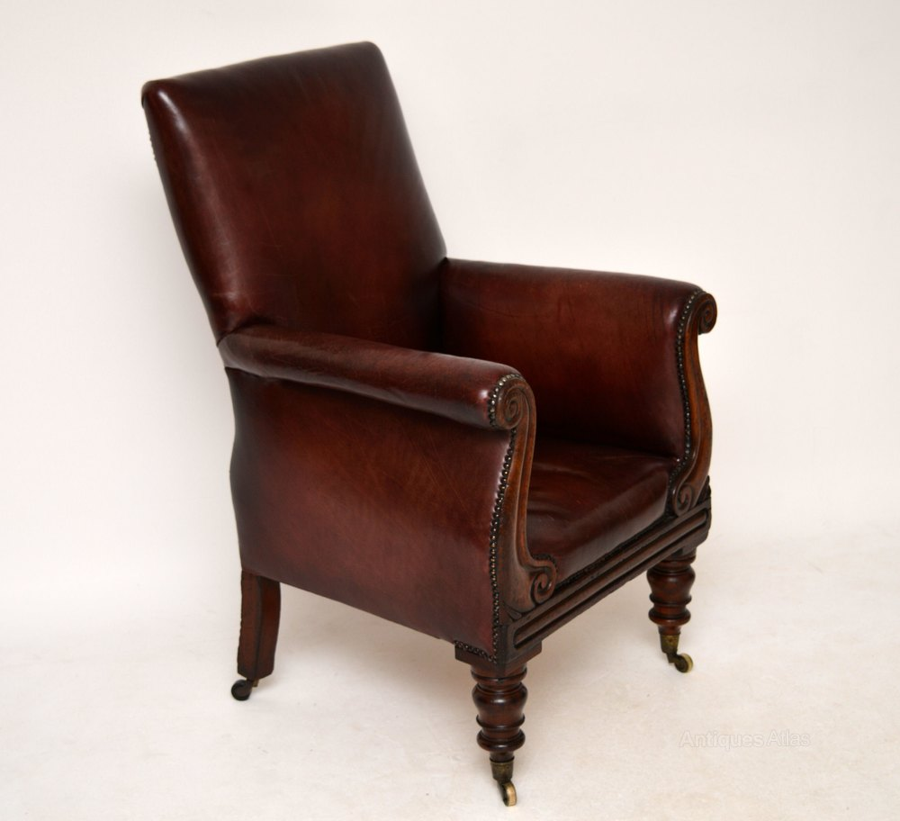 Antique William IV Mahogany & Leather Armchair - Antiques ...