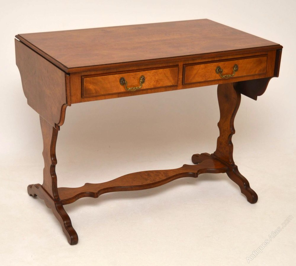 Georgian style 1930 burr walnut sofa table antiques atlas for Sofa table antique