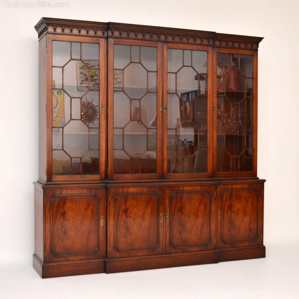 Antique Bookshelves: Large Antique Style Mahogany Breakfront