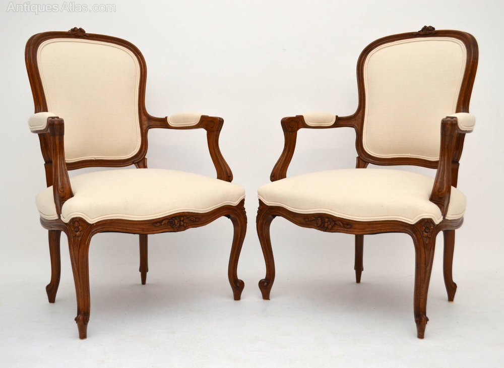 Pair of antique french carved salon cream armchair for Cream armchair