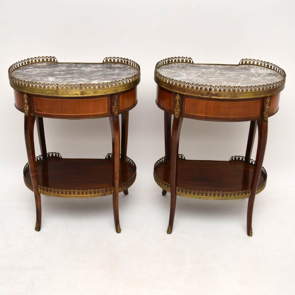 Pair of antique french marble top side tables antiques atlas - Marble tops for furniture ...