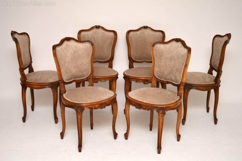Set Of Six French Antique Walnut Dining Chairs Antiques Atlas
