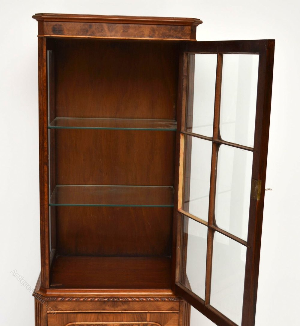 Slim antique burr walnut display cabinet antiques atlas for Antique display cabinet