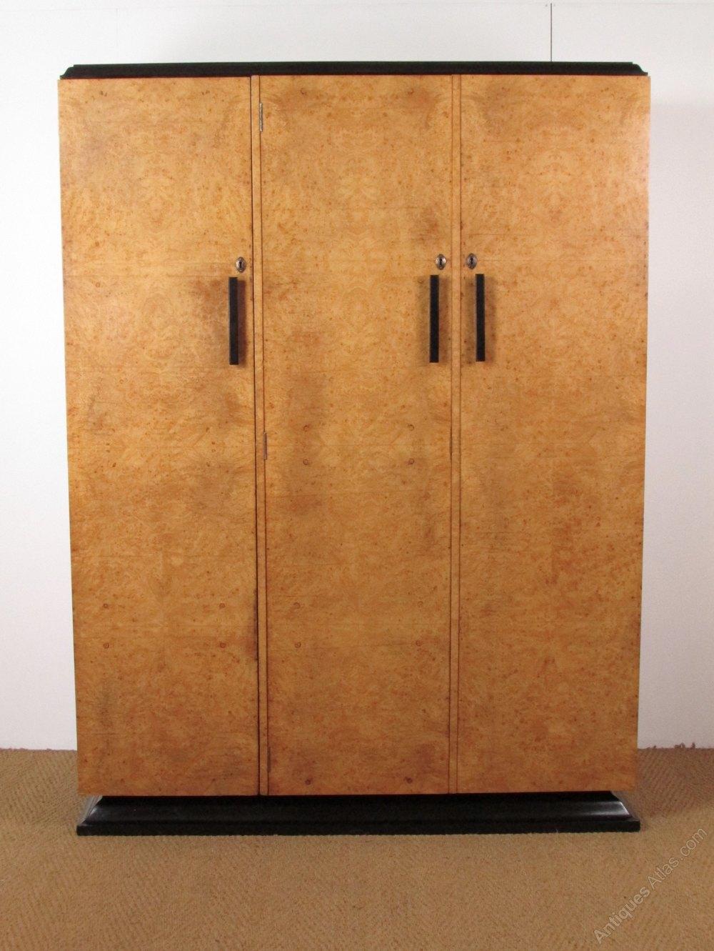 Art deco burr maple wardrobe bath cabinet makers for Cabinet makers