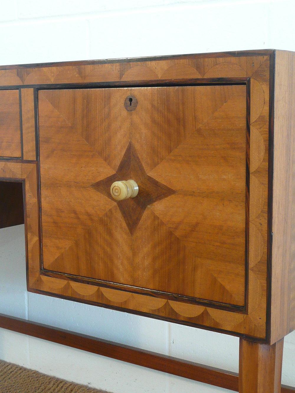Art Deco Inlaid Walnut Desk By Bath Cabinet Makers