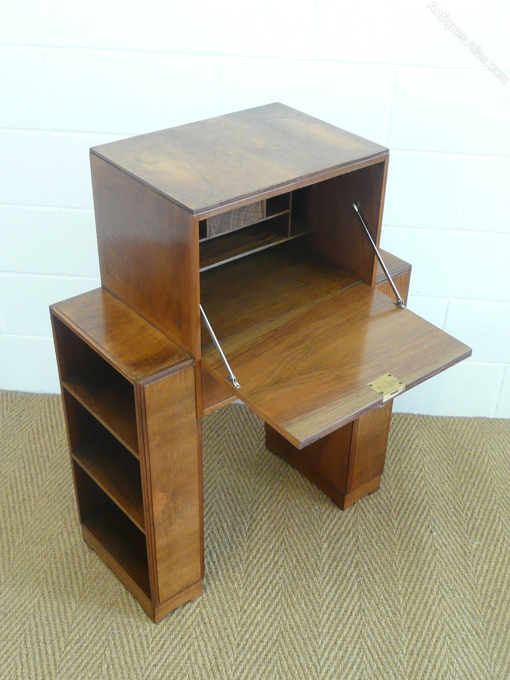 Heal 39 s art deco walnut bureau bookcase antiques atlas for Deco bureau