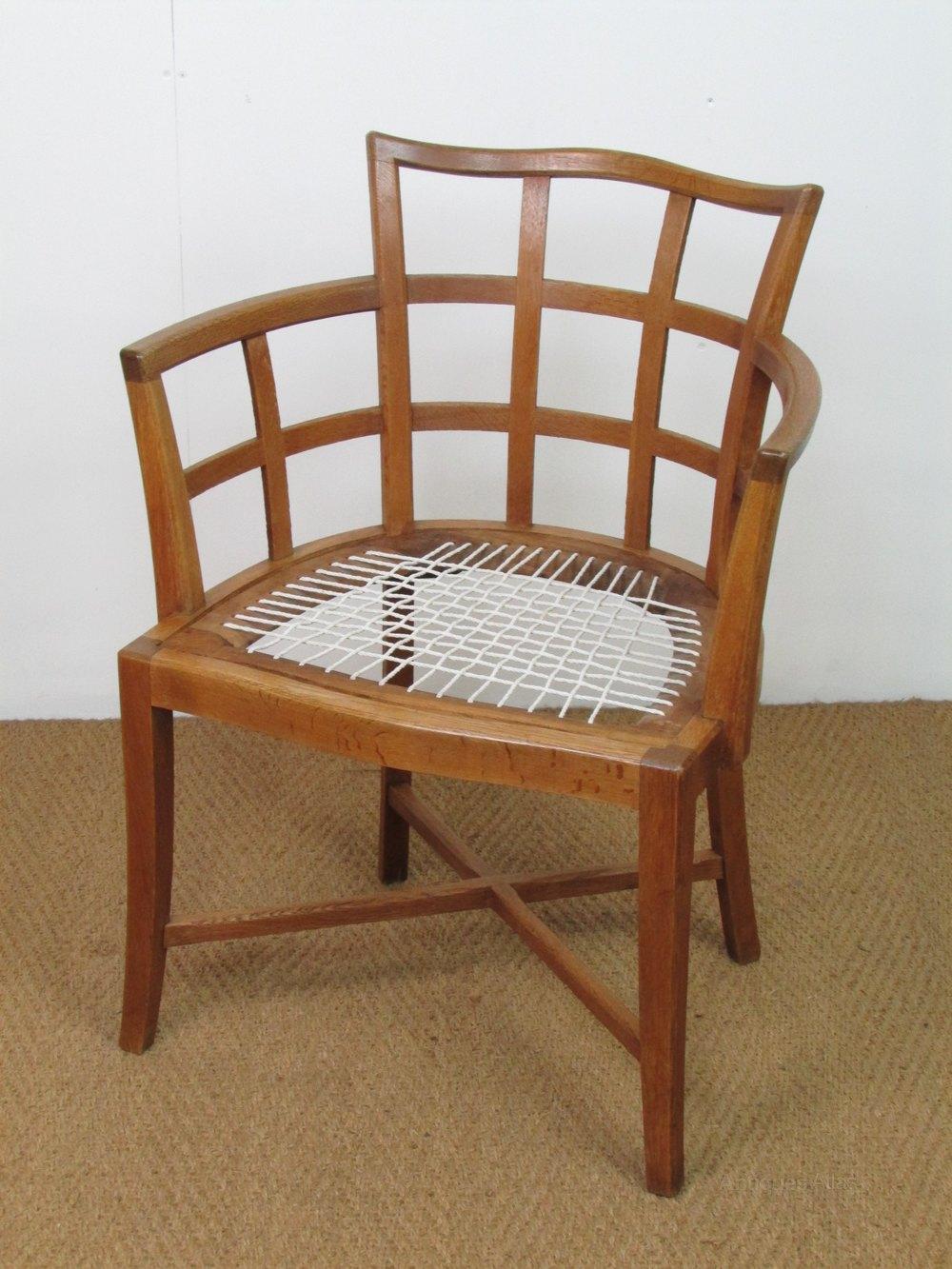 Heals Oak Desk Armchair - Antiques Atlas