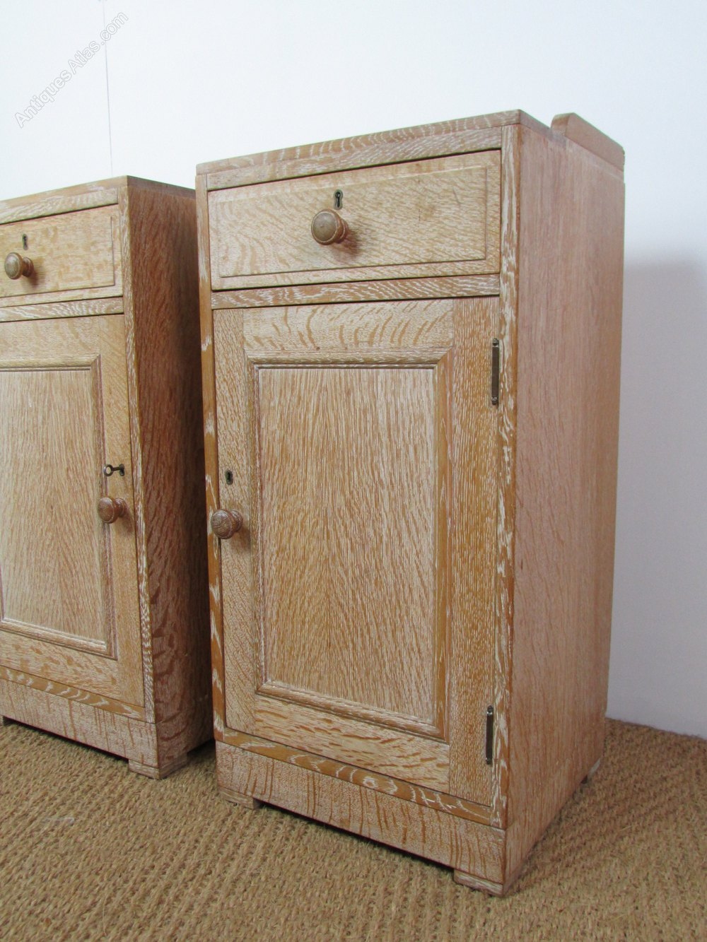 Limed Oak Bedroom Furniture Pair Of Heals Limed Oak Bedside Cabinets Antiques Atlas