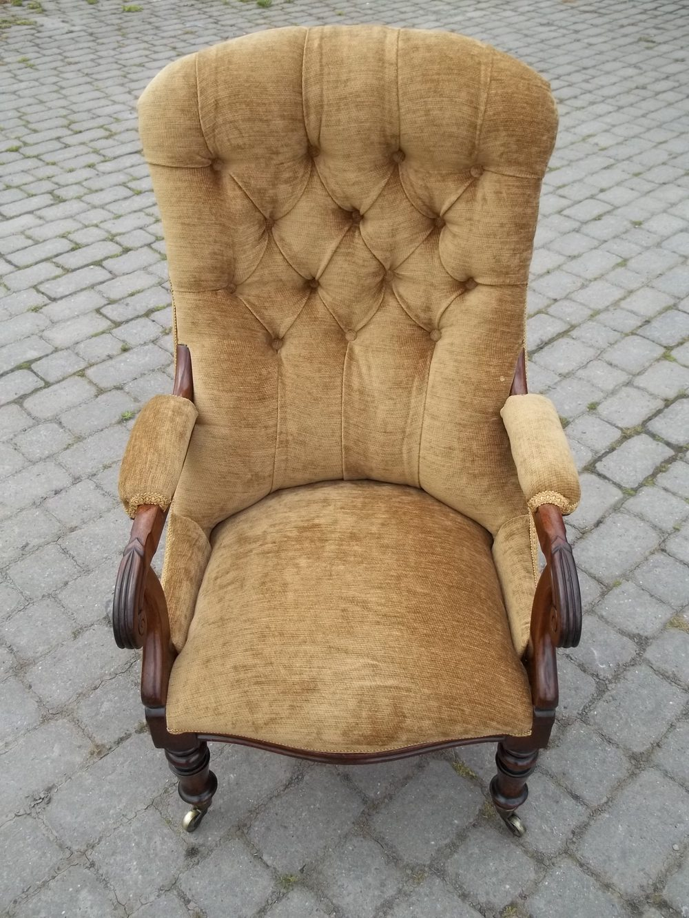 Antique Georgian Mahogany Upholstered Armchair - Antiques ...