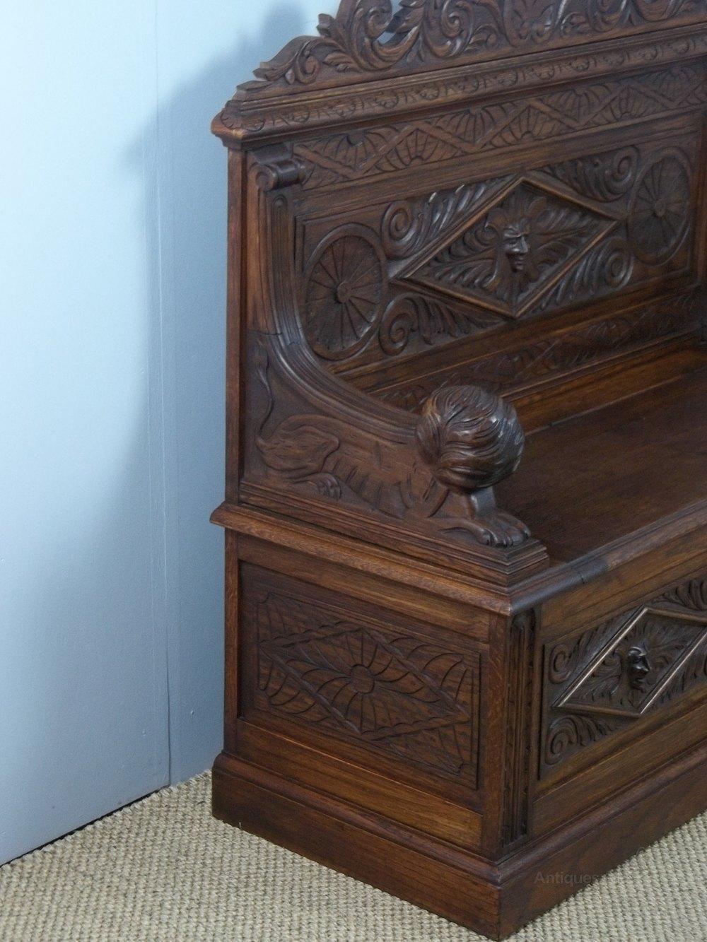 Small Oak Box Settle Hall Bench C 1880 Antiques Atlas