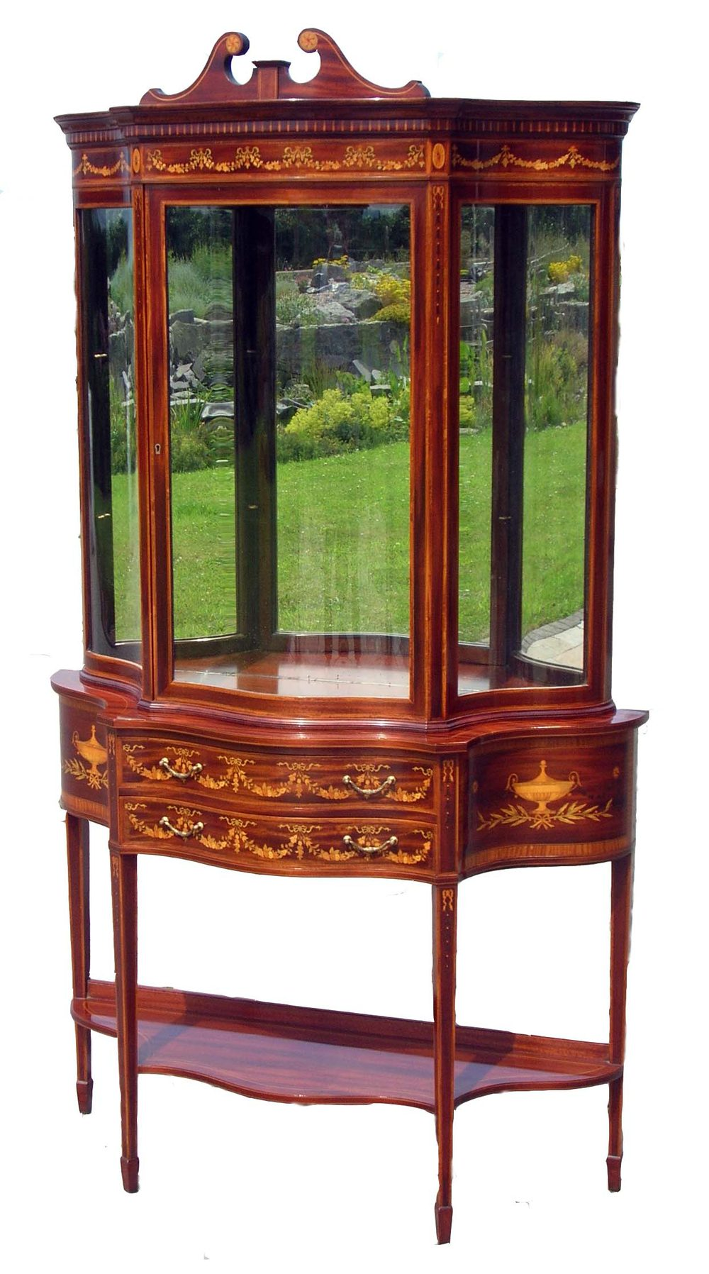 Antique sheraton mahogany inlaid display cabinet for Antique display cabinet