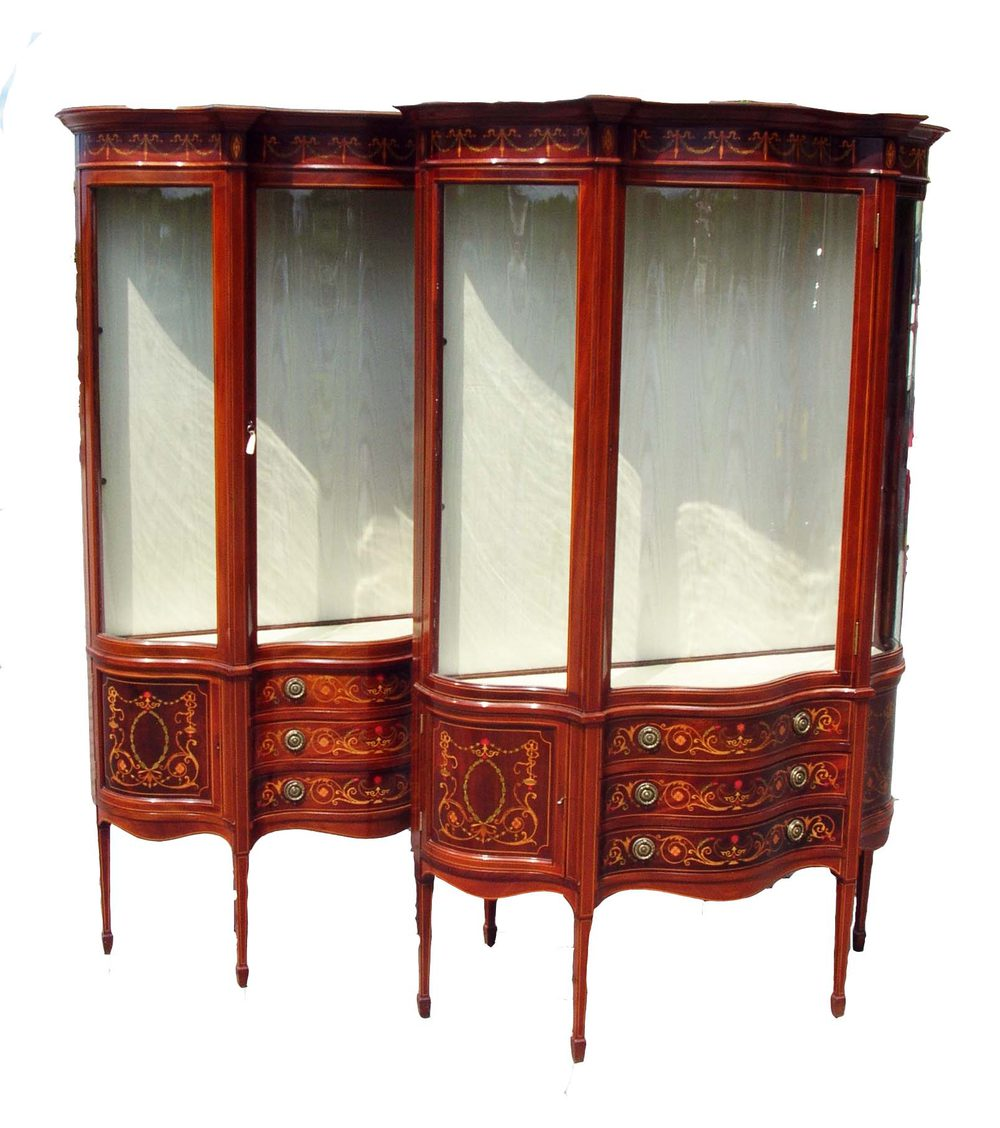 Antique pair inlaid mahogany display cabinets antiques atlas for Antique display cabinet