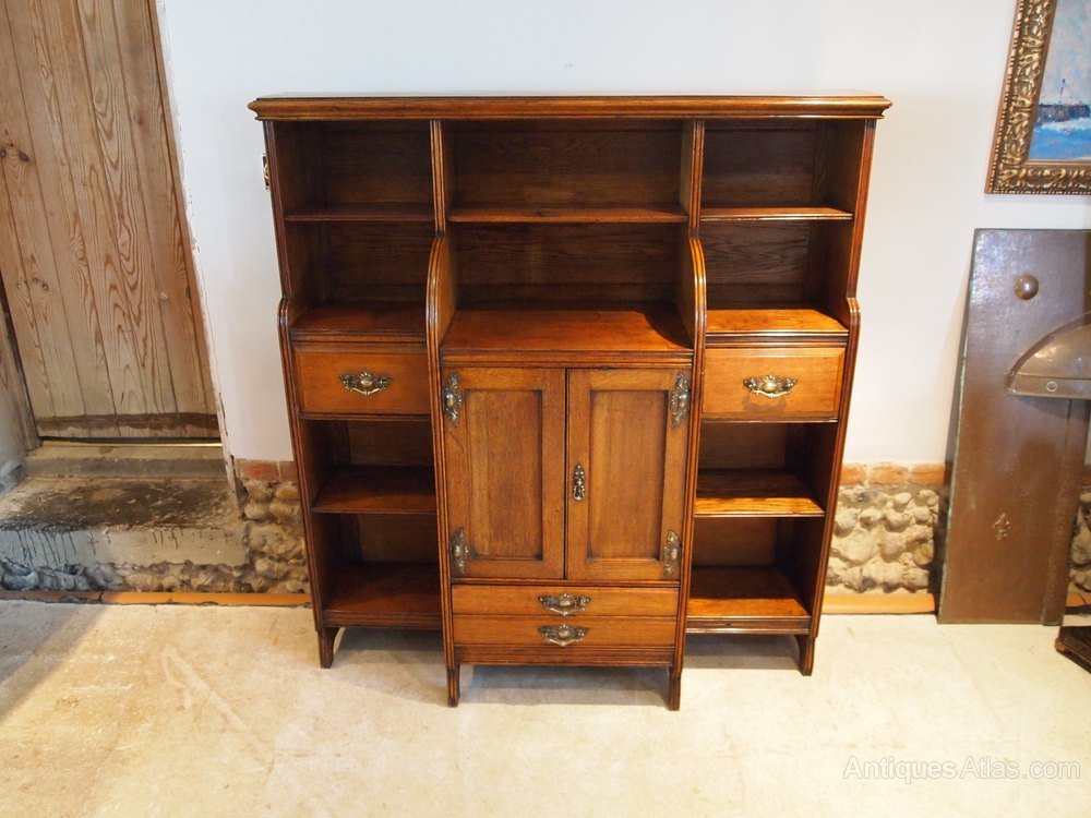 bookcase arts and crafts oak manner of liberty antiques atlas. Black Bedroom Furniture Sets. Home Design Ideas