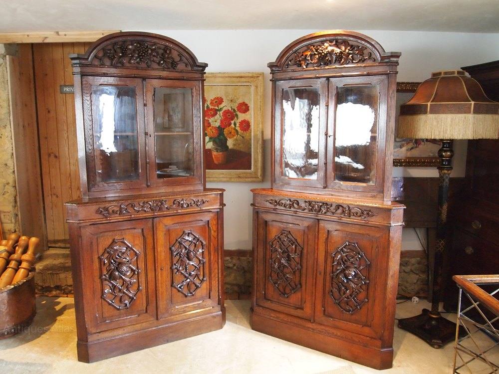 Cabinets bookcase display victorian carved oak antiques for Carved kitchen cabinets