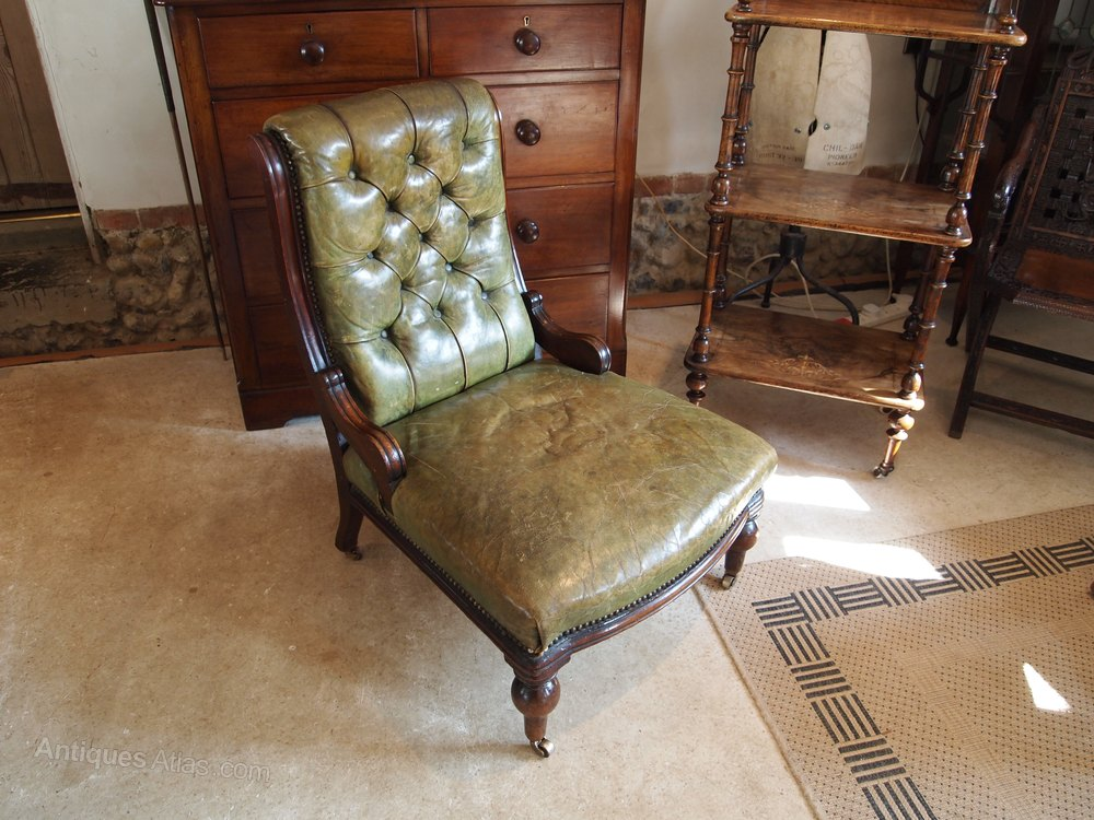 chair victorian mahogany buttoned back leather antiques atlas. Black Bedroom Furniture Sets. Home Design Ideas