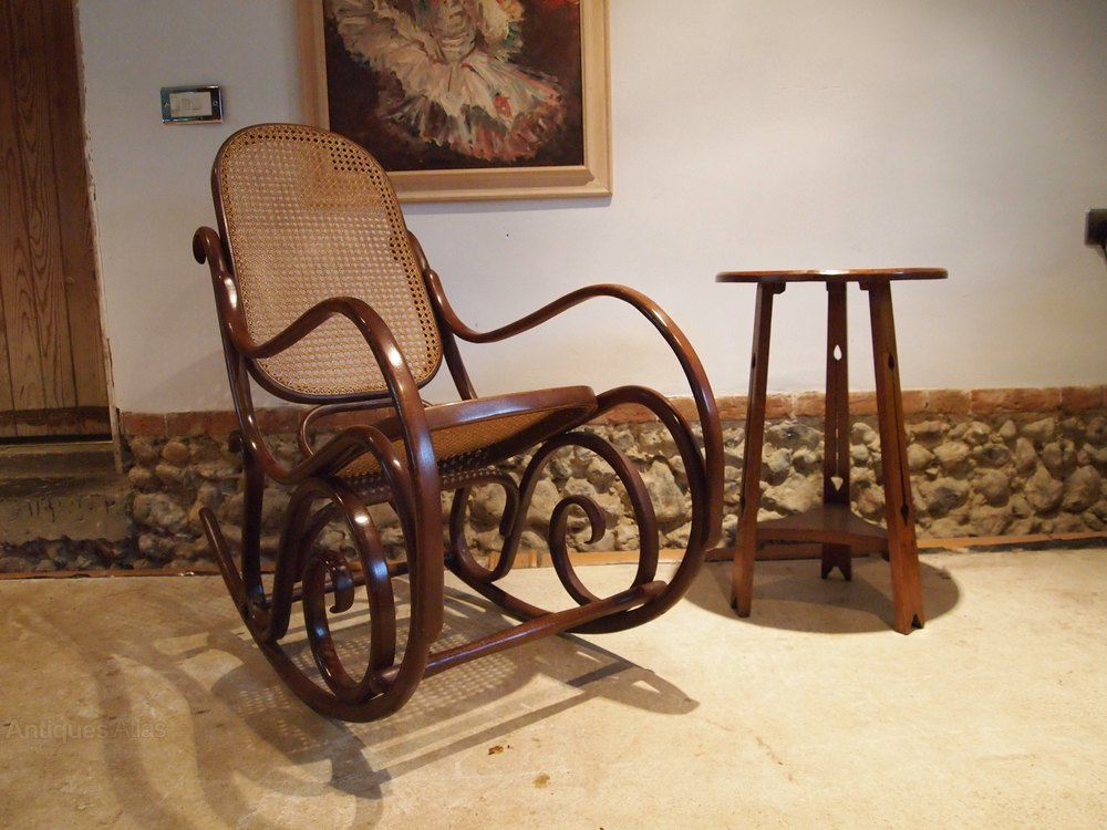 Chair Rocking Chair Bentwood Cane Rocker C1930 Antiques