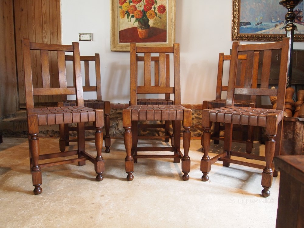 chairs arts and crafts oak and leather c1910 antiques atlas. Black Bedroom Furniture Sets. Home Design Ideas