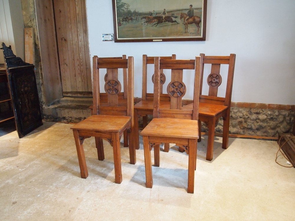 chairs set of 5 arts and crafts pitch pine chairs antiques atlas. Black Bedroom Furniture Sets. Home Design Ideas