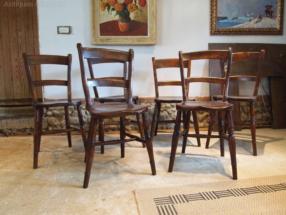 chairs set of 6 victorian windsor kitchen c1880 antiques atlas. Black Bedroom Furniture Sets. Home Design Ideas