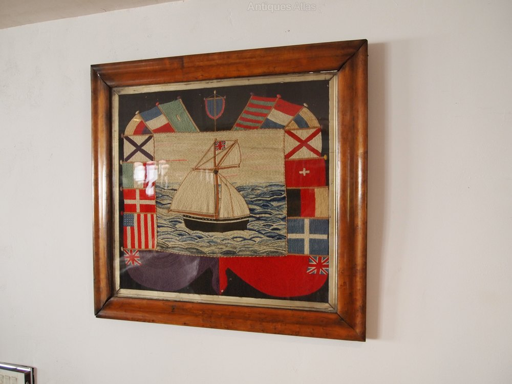 Antiques Atlas Woolwork Sampler Rare British Sailor C1865