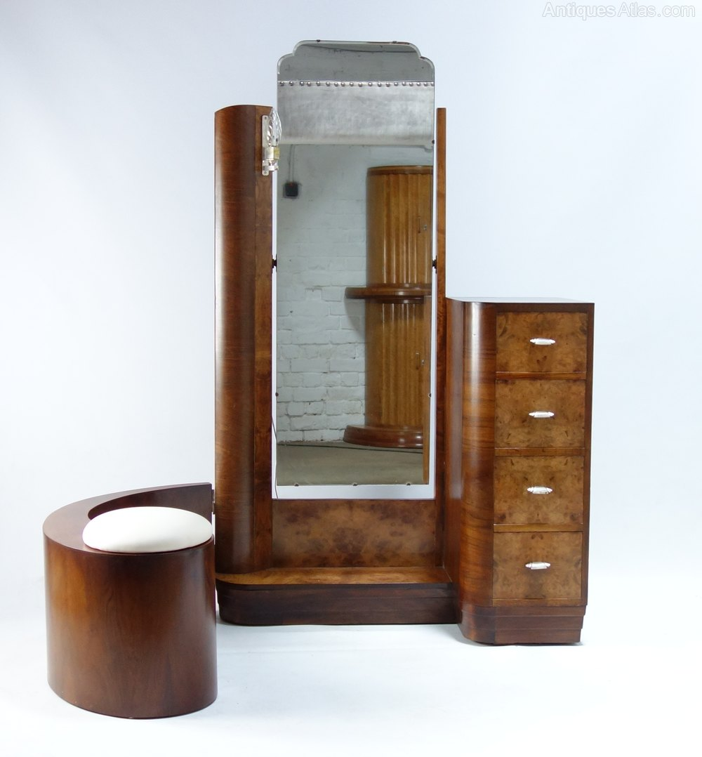 art deco dressing table with swing stool antiques atlas. Black Bedroom Furniture Sets. Home Design Ideas