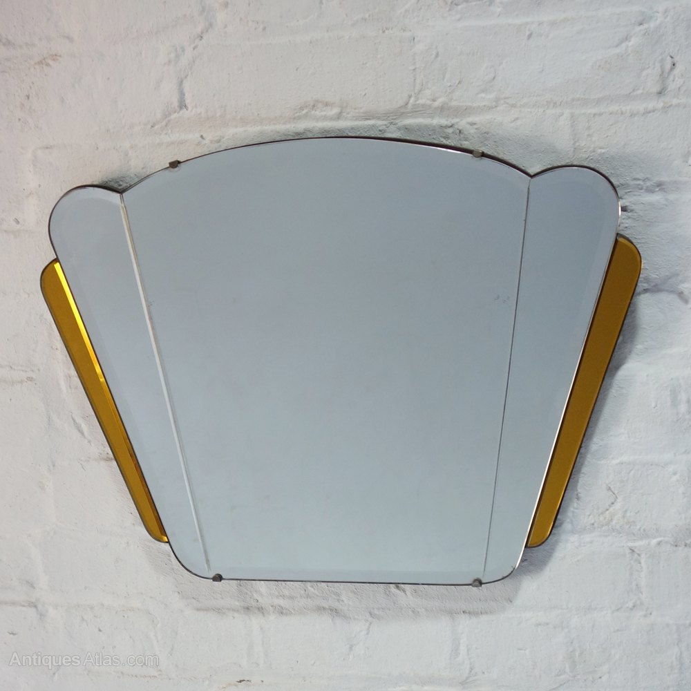 Antiques Atlas Art Deco Fan Mirror Amber Glass Circa 1930