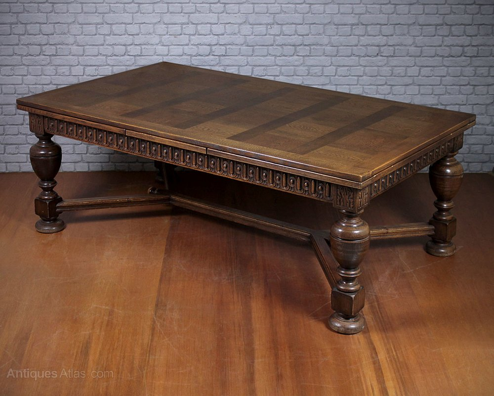12 seater extending parquetry top dining table