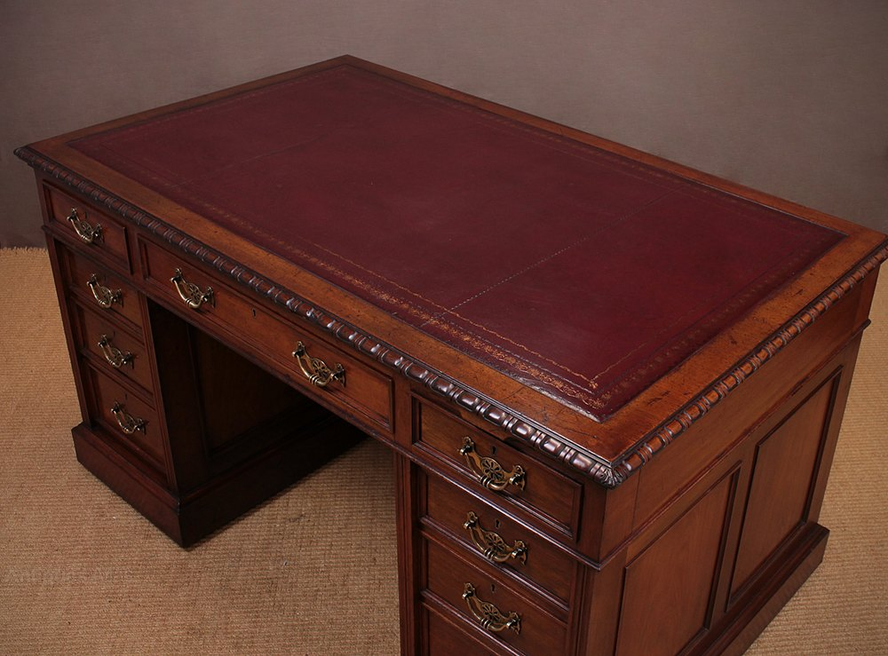 19th c Mahogany Double Sided Desk By Maple & Co C1890