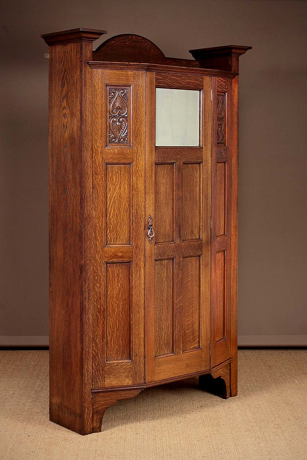 Arts Amp Crafts Oak Wardrobe Or Hall Robe C 1910 Antiques