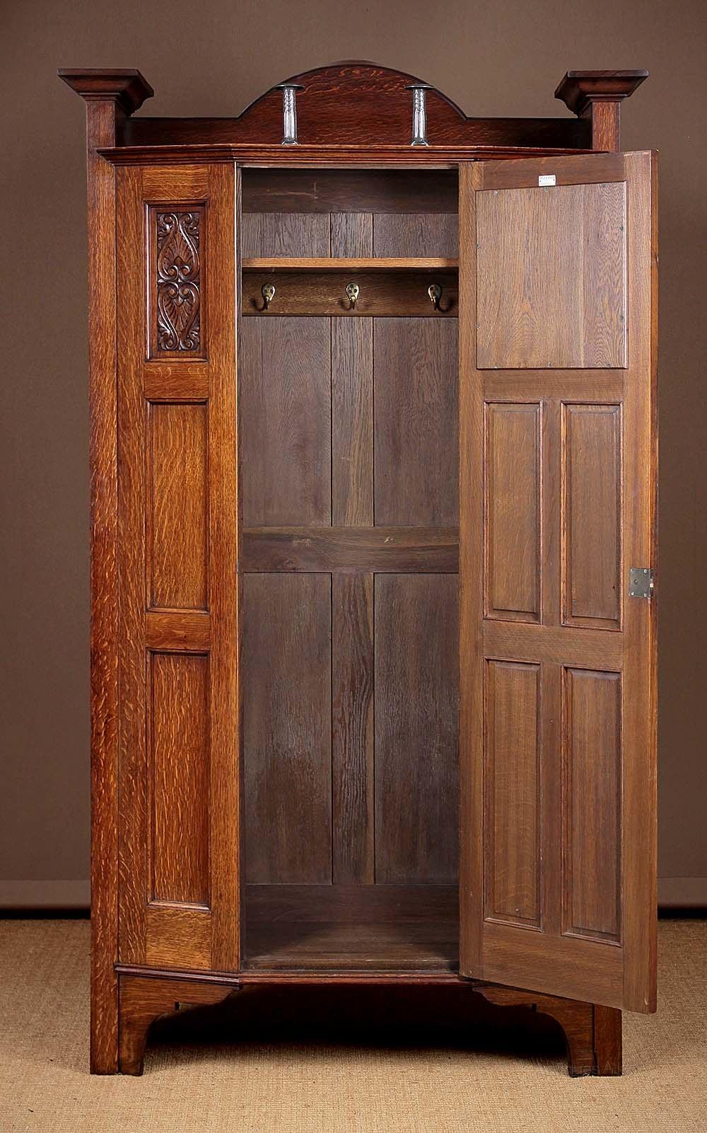 Arts Amp Crafts Oak Wardrobe Or Hall Robe C 1910 Antiques