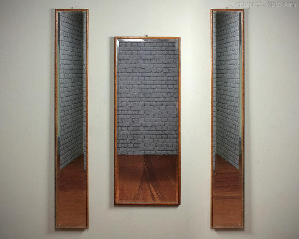 Antiques atlas 3 long oak framed mirrors for Long framed mirror