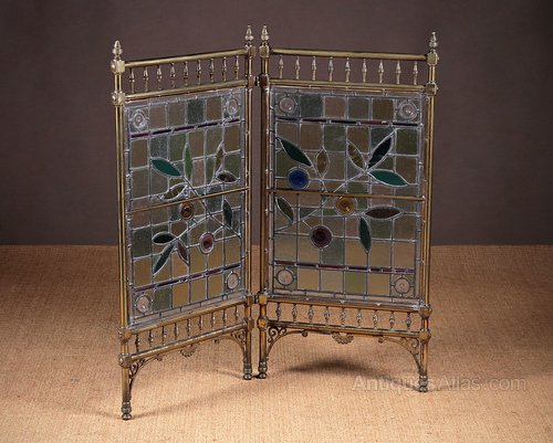 Aesthetic Movement Brass Leaded Glass Screen Antiques Atlas