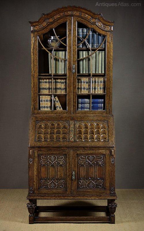 carved oak queen anne bureau bookcase antiques atlas. Black Bedroom Furniture Sets. Home Design Ideas