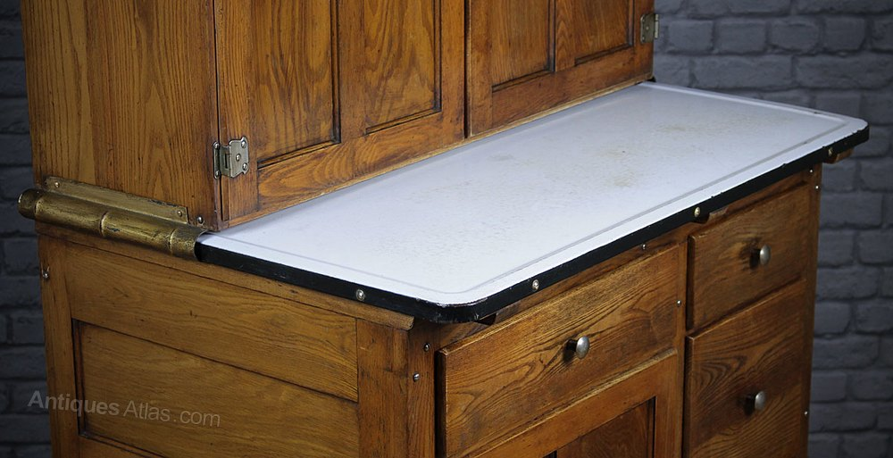 Early 20th c oak easiwork kitchen cabinet for 1930s kitchen cabinets for sale