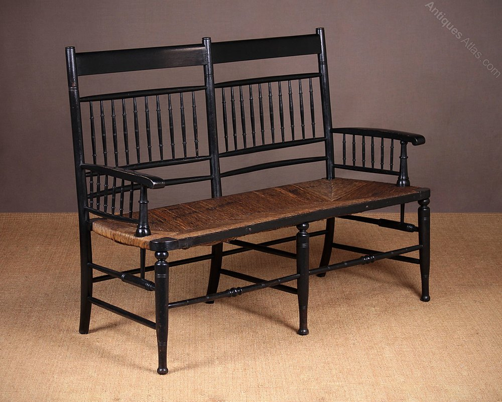 Antique arts and crafts furniture - Ebonised Arts Crafts Movement Chair Back Settee Antique Settees And Sofas