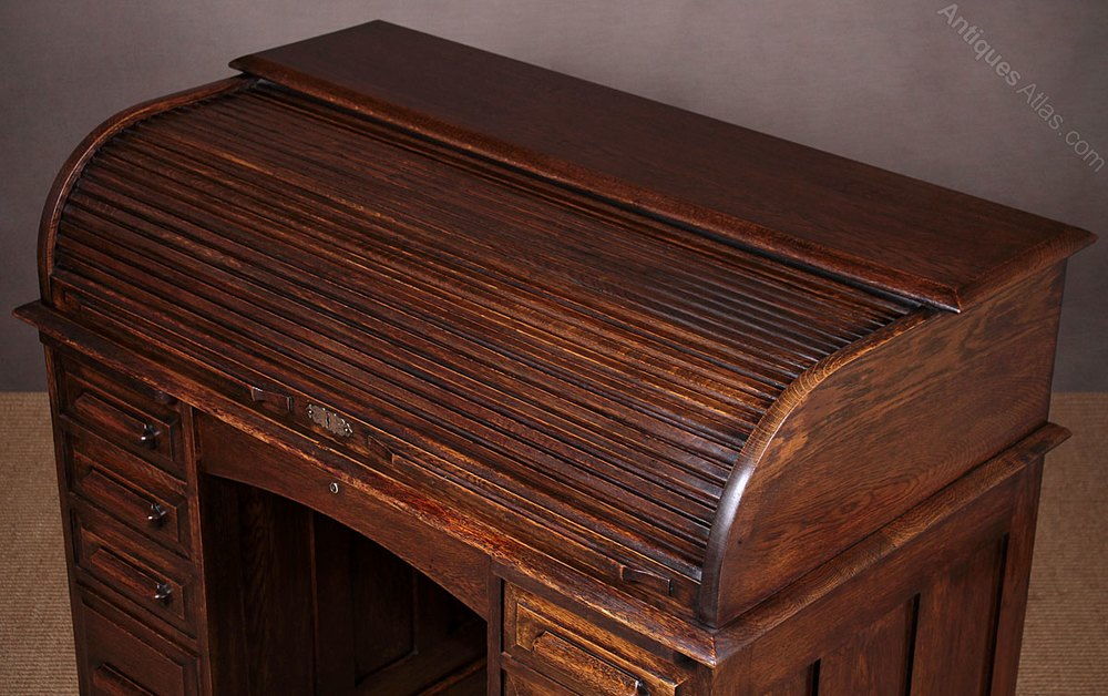 Edwardian Low Back Roll Top Desk C 1910 Antiques Atlas