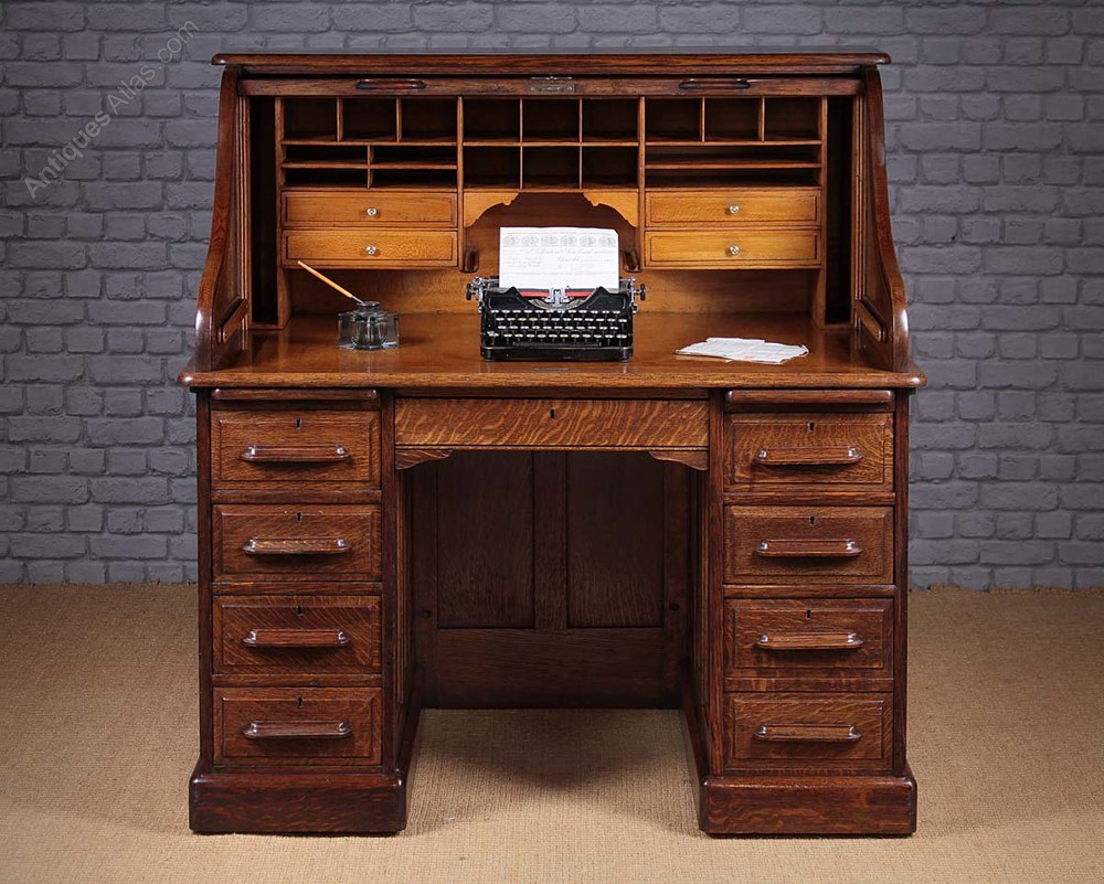 Edwardian Oak Roll Top Desk C 1910 Antiques Atlas