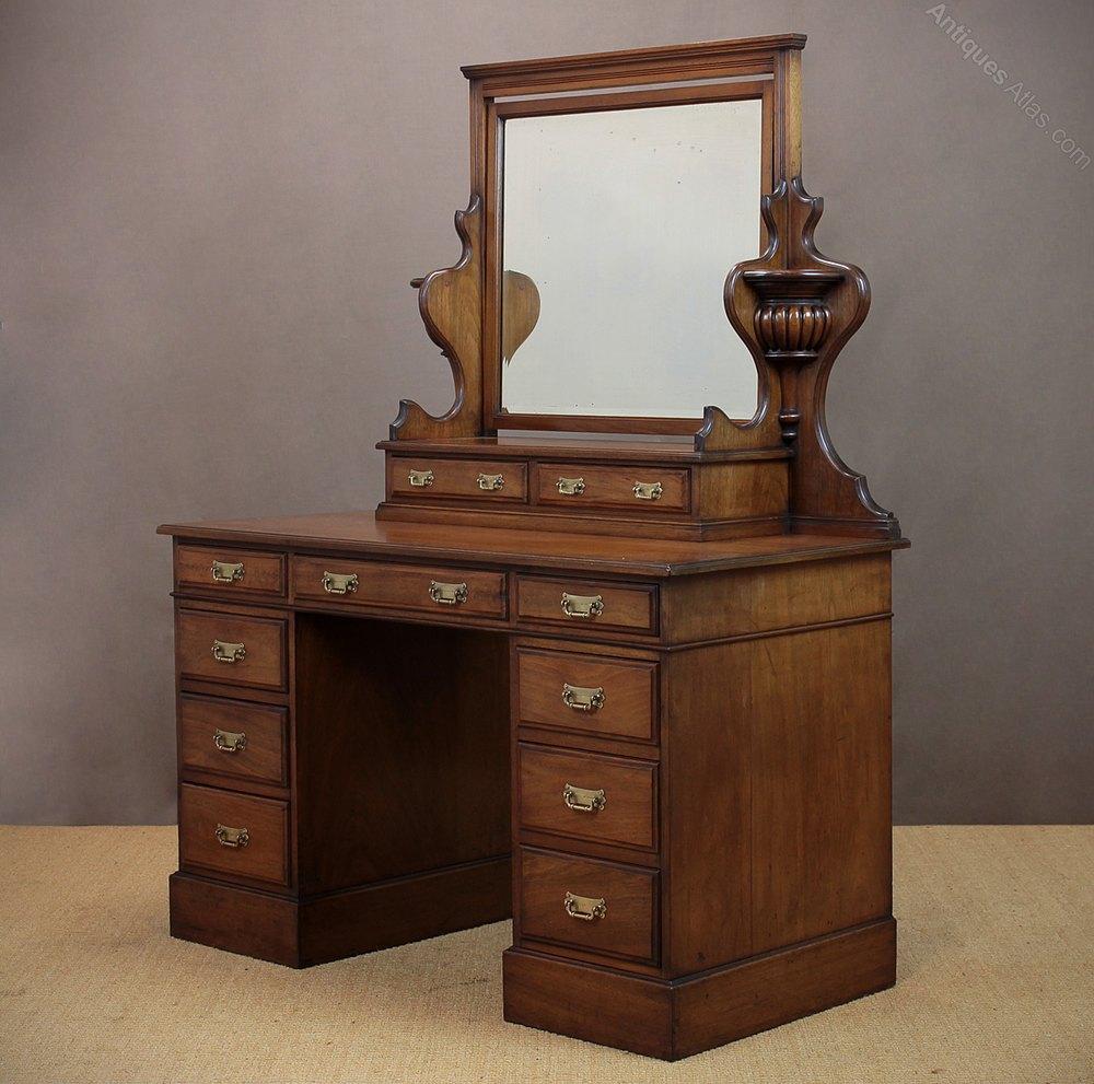 Edwardian walnut pedestal dressing table for Walnut dressing table