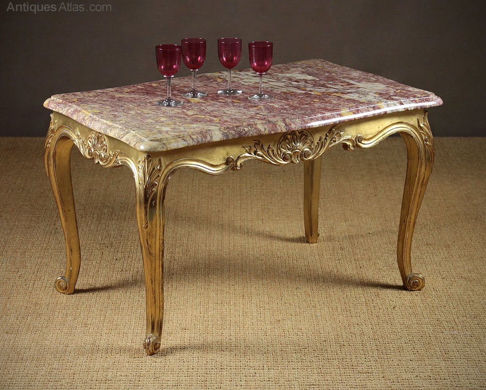 antiques atlas gilded marble top coffee table. Black Bedroom Furniture Sets. Home Design Ideas