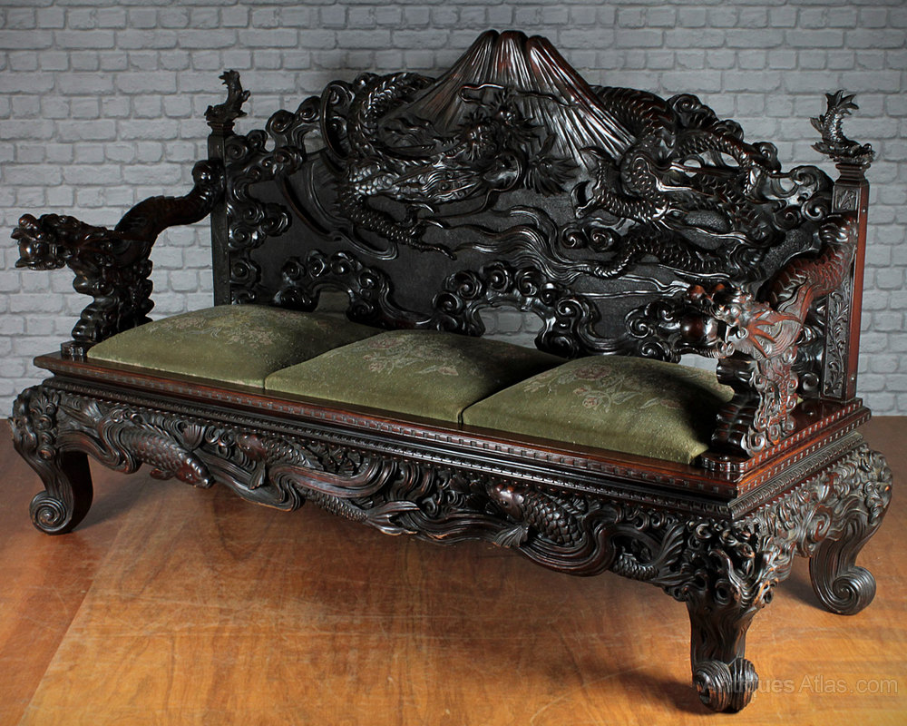 Japanese Carved Dragon Couch C 1900 Antiques Atlas