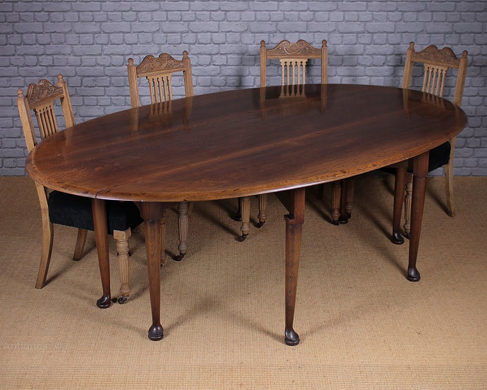 Antiques atlas large oak drop leaf dining table for Large dining table